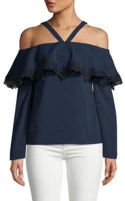 Jonathan Simkhai Cold-Shoulder Lace-Trim Crepe Top