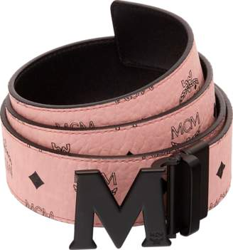 MCM Claus M Reversible Belt Visetos 1.75W 51In/130Cm Soft Pink