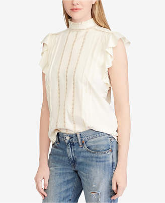 Polo Ralph Lauren Band-Collar Ruffled Cotton Top