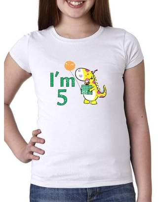 Hollywood Thread I'm 5! Birthday Cute Yellow Dinosaur Present Balloon Girl's Cotton Youth T-Shirt