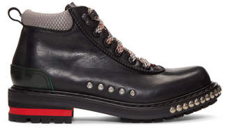 Alexander McQueen Black Studded Lace-Up Boots