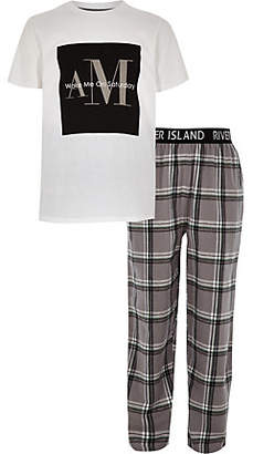 River Island Boys grey check print pajama set