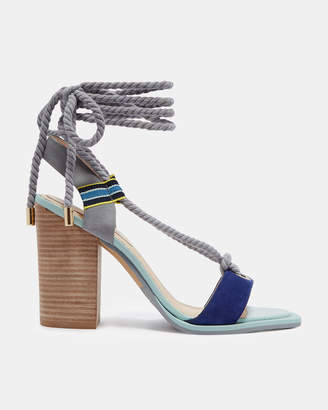 Ted Baker NAEYLA Suede rope tie heeled sandals