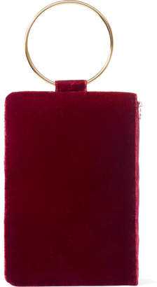 Tara Zadeh - Ziba Crushed-velvet Clutch - Red