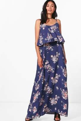 boohoo Sophia Frill Floral Printed Maxi Dress