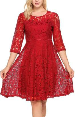 Meaneor Women 3/4 Sleeve Lace Floral Elegant Cocktail Dress Crew Neck Knee Length Party M
