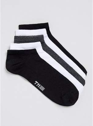 Topman Mens White Assorted Colors Sneaker Socks 5 Pack