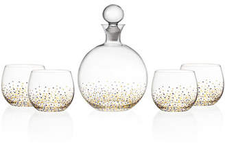 Confetti 5-Piece Whiskey Decanter Set