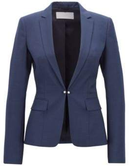 BOSS Regular-fit jacket in houndstooth virgin wool with cufflink closure