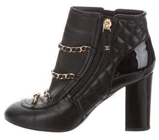 Chanel Quilted Chain-Link Boots