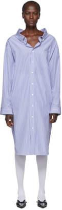 Balenciaga Blue and White Striped Swing Shirt Dress