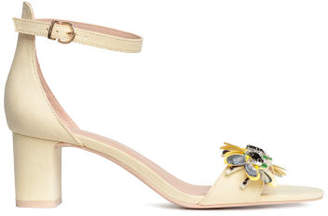 H&M Block-heeled Sandals - Yellow