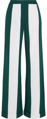 Monse Striped Silk-blend Crepe Wide-leg Pants - Forest green