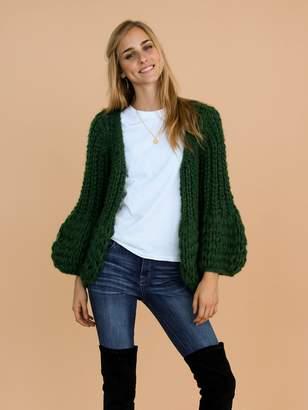 Goodnight Macaroon 'Lillibeth' Green Chunky Knit Open Cardigan