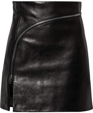 Alexander Wang Zip-detailed Leather Mini Skirt - Black