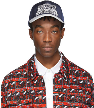 29466866 Kenzo Navy and White Limited Edition Canvas Tiger Cap