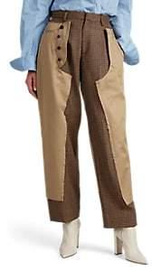 Kolor Women's Wool-Inset Cotton Flat-Front Trousers - Beige, Khaki