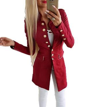 JYDress Women's Long Sleeve Casual Work Solid Color Blazer Slim Fit Work Office Jacket