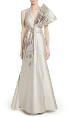 Sachin + Babi Embellished V-Neck Gown