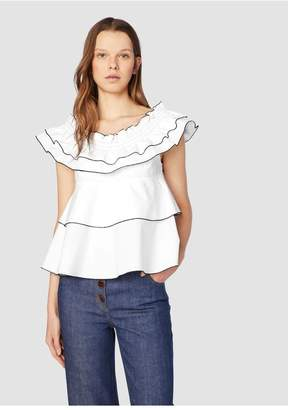 Derek Lam 10 Crosby Smocked Off Shoulder Top