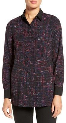Ellen Tracy Print Crepe Boyfriend Shirt $59.95 thestylecure.com
