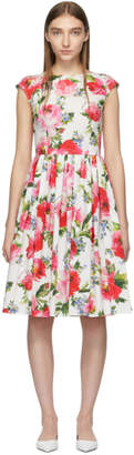 Dolce & Gabbana Multicolor Floral Flare Fitted Dress
