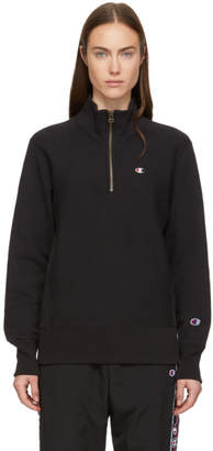 Champion Reverse Weave Black Half-Zip Sweatshirt