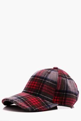 boohoo Red Wool Check Cap