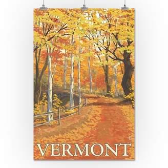 Vermont - Fall Colors Scene - Lantern Press Artwork (24x36 Giclee Gallery Print, Wall Decor Travel Poster)