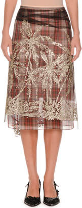 No.21 No. 21 Plaid A-Line Embellished Tulle Skirt