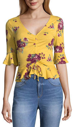 Almost Famous Elbow Sleeve V Neck Jersey Blouse-Juniors