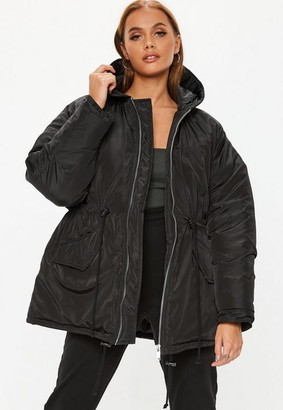 Missguided Black Cocoon Utility Parka Jacket