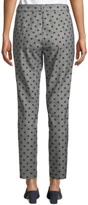 Nicole Miller New York Mid-RIse Polka-Dot Glen-Plaid Straight-Leg Pants