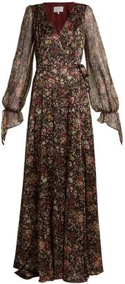 Luisa Beccaria Floral-print sheer-sleeved silk-blend wrap gown