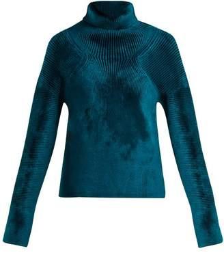 Haider Ackermann Aralia Chenille Roll Neck Sweater - Womens - Blue