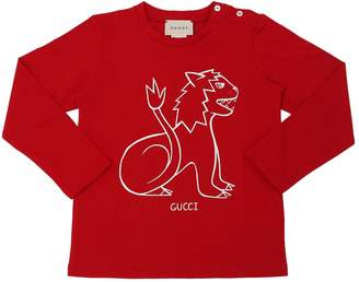 Gucci Lion Printed Cotton Jersey T-Shirt
