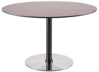 Lumisource Dillon Mid-Century Modern Dining Table in Walnut and Stainless Steel