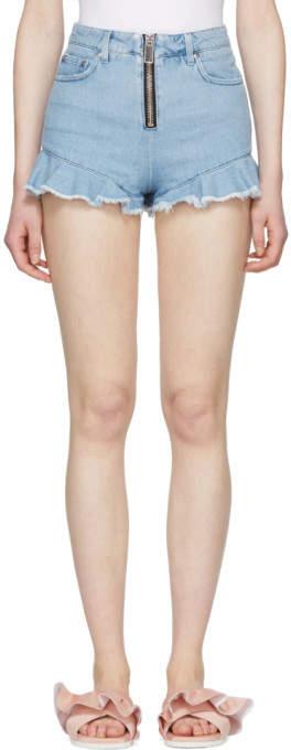 Blue Zipped Ruffles Denim Shorts