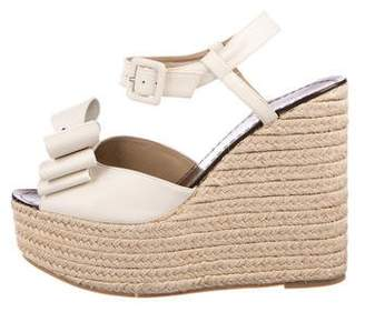 Valentino Leather Espadrille Wedges