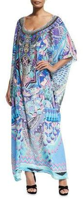 Camilla Round-Neck Embellished Printed Silk Kaftan Coverup $650 thestylecure.com