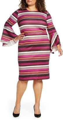ELOQUII Long Sleeve Scuba Sheath Dress