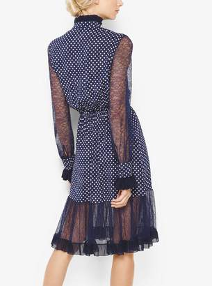 Michael Kors Polka Dot Silk-Georgette and Chantilly Lace Dress
