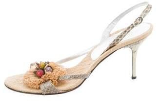 Dolce & Gabbana Raffia Embellished Sandals