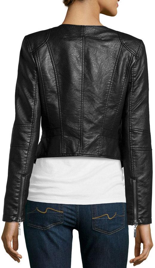 Raison D'etre Asymmetric-Zip Faux Leather Jacket, Black 2