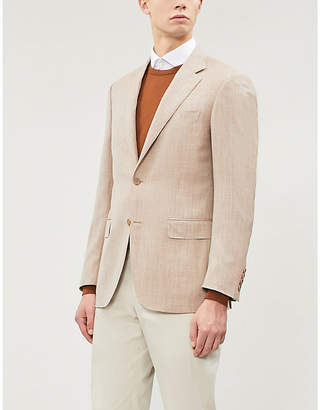 Canali Textured tailored-fit wool silk and linen-blend blazer