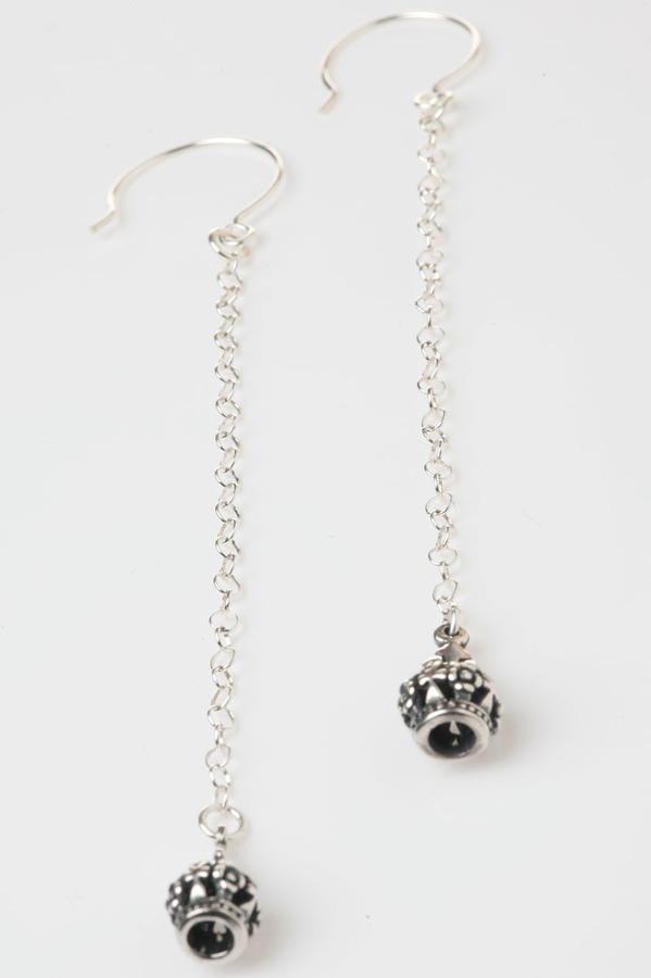 Femme Metale Jewelry Long Thin Chain Earrings with Tiny Crowns
