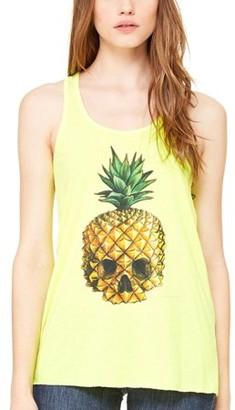 Clementine Apparel Women's Pineapple Skull Printed Flowy Racerback Tank Top