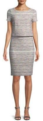 St. John Short-Sleeve Flag Tweed Dress