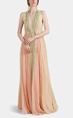 Alberta Ferretti Women's Lace-Trimmed Silk Chiffon Gown - Pink