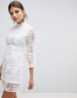 boohoo Embroidered Mesh Tiered Lace Dress